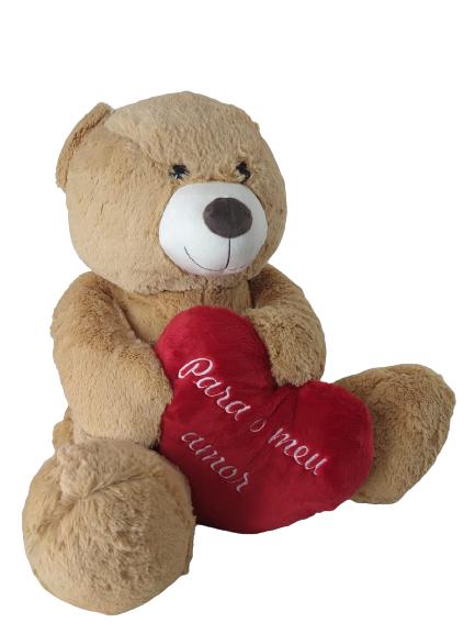 Urso De Pelúcia Para o Meu Amor 48 cm Sentado Antialérgico G Brumar