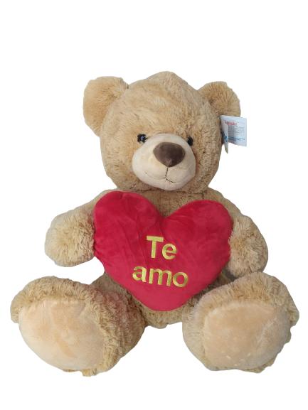Urso De Pelúcia Te Amo 54 cm De Altura Marrom Tamanho G Buba