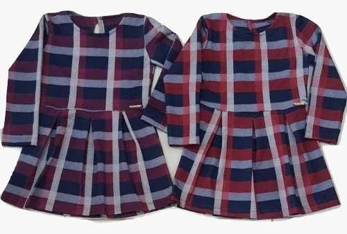 Vestido Menina Xadrez Manga Longa Infantil Alfaiataria