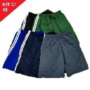 Kit 12 Bermudas Short De Tactel Adulto Com Elástico