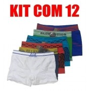 Kit 12 Cuecas Box Boxer Originais Sem Costura Elastico Ocean