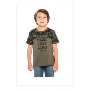 Camiseta Camuflada Manga Curta Pai E Filho Gola Redonda