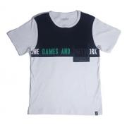 Camiseta Juvenil Menino Recorte Branco Bolso Dway