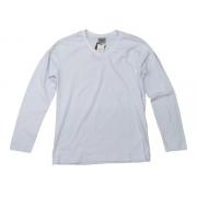 Camiseta Manga Longa Branca Lisa De Algodão Gola V