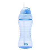 Copo Clean C/canudo De Silicone 300ml Azul Lolly
