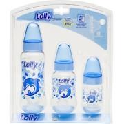 Kit 3 Mamadeiras Oceano 250ml +160ml+70ml Bico R Azul Lolly