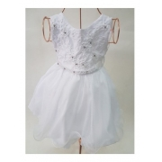 Vestido Festa Batizado Formatura Bebê Branco Tule E Perolas