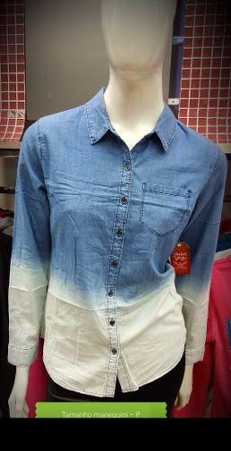 Camisa Jeans Feminina Manga Longa Degrade Tie Die