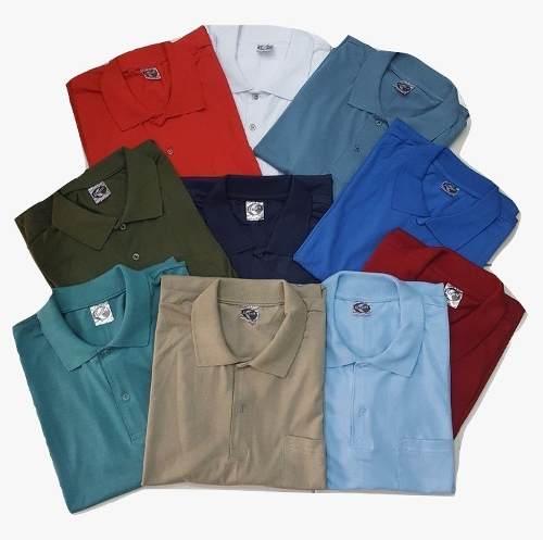 Kit 10 Camisetas Polo Bolso Manga Curta Camisa Gola Polo
