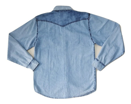 Camisa Jeans Manga Longa Masculina Tiedye - Azul-claro - GG