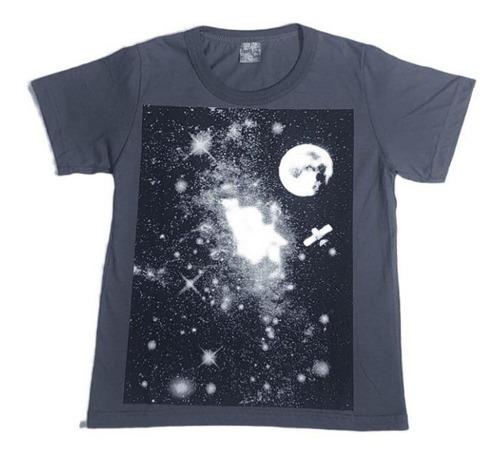 Camiseta Juvenil Menino Estampa Brilha No Escuro Céu