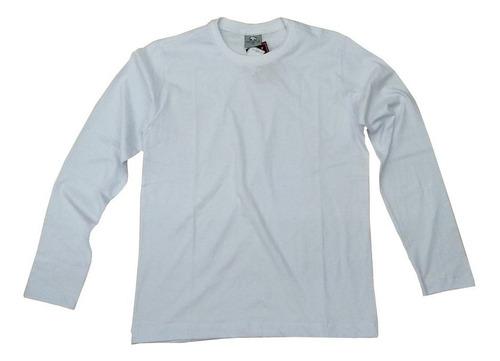 Camiseta Manga Longa Branca Lisa 100% Algodão Gola Redonda