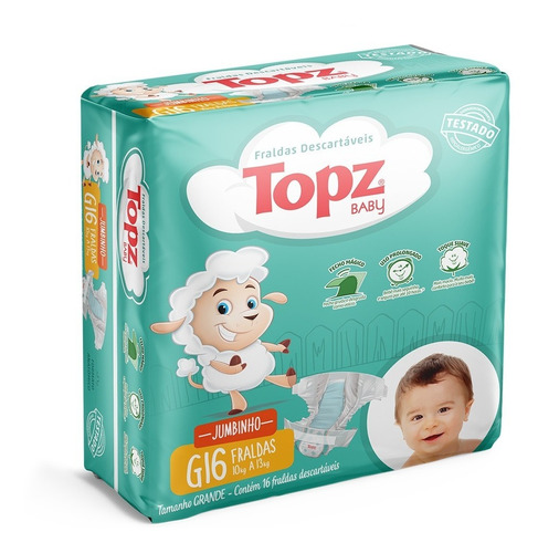 Fralda Descartável Topz Baby Jumbinho P Ao Xg