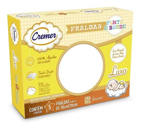 Fralda Pinte E Borde Branca Neutra Caixa Com 5 Fralda Cremer