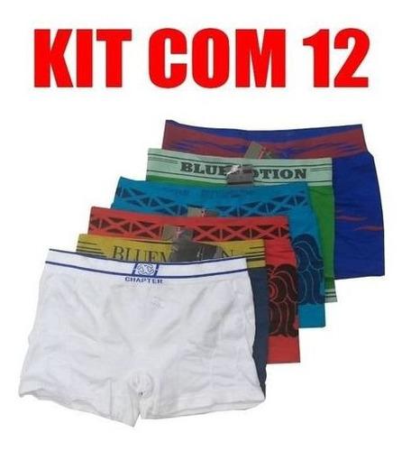 Kit 12 Cuecas Box Boxer Originais Sem Costura Elastico