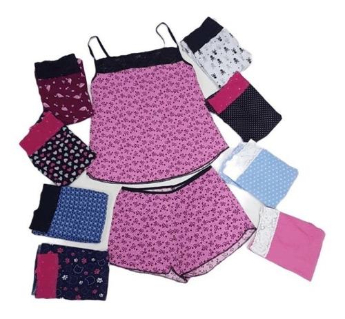 Kit 3 Baby Doll Conjunto Com Renda Pijama Feminino