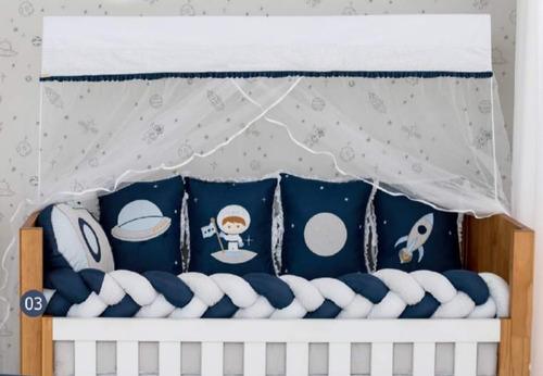 Kit Berço Bêbe 10 Peças Com Trança Astronauta Azul Menino