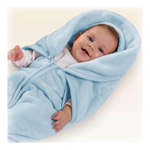 Manta Bebê Baby Sac Azul Saco De Dormir Cobertor Jolitex