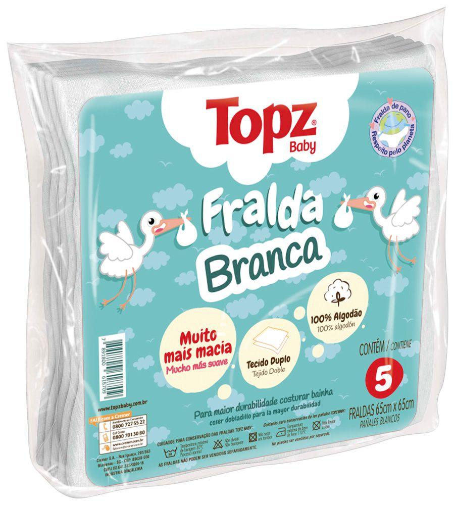 Pacote Fralda pano branca algodão 5 unidades Topz Baby