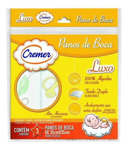 Pano De Boca Duplo Branco Neutro Bordado Kit Com 3 Unidades