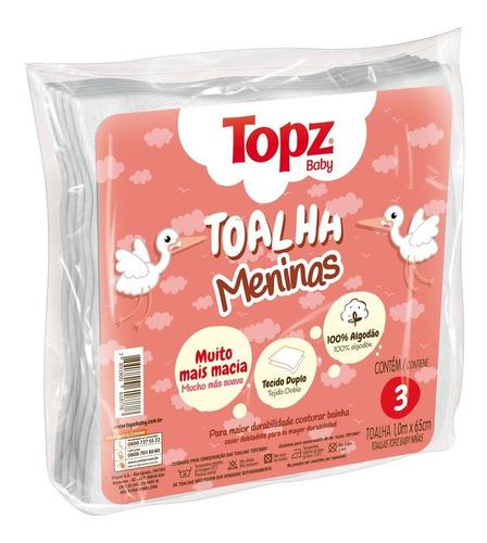 Toalha Fralda Menina Pacote C/3 Unidades Topz Baby 100x65 Cm