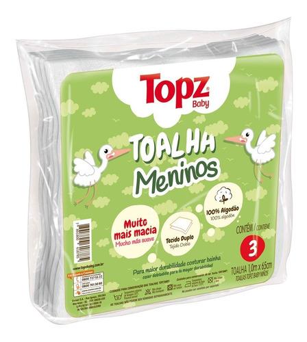 Toalha Fralda Menino Pacote C/3 Unidades Topz Baby 100x65 Cm