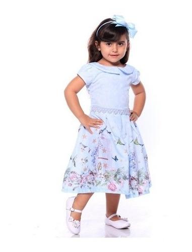Vestido De Festa Casamento Formatura Infantil Florido Tiara