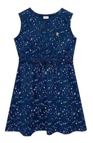 Vestido Estampado Infantil Estrelinha De Malha