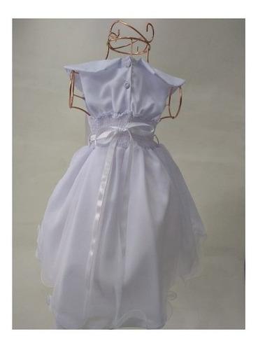 Vestido Festa Batizado Formatura Branco Tule Cinto Perolado