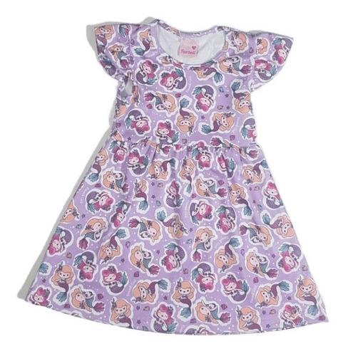 Vestido Infantil Menina Estampa Sereia Fresquinho Faraeli