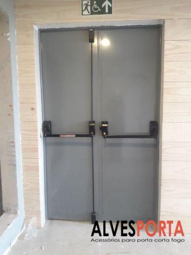 Porta Corta Fogo Dupla P90 com fechadura porta de emergência 180x210