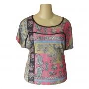 Blusa Estampa Lenço Rosa Plus Size P ao GG