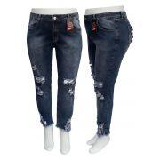 Calça Jeans Cigarrete Rasgada Plus Size