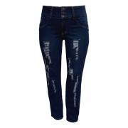 Calça Jeans Feminina Cós Largo Rasgada Plus Size