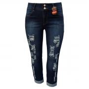 Calça Jeans Feminina Cropped Rasgada Plus Size