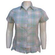 Camisa Feminina Xadrez Estampada Plus Size