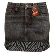 Saia Jeans Com Barra De Tecido