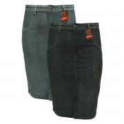 Saia Jeans Evangélica Com Detalhe Bordado Plus Size