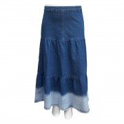 Saia Jeans Moda Evangélica Longa Camadas Plus Size