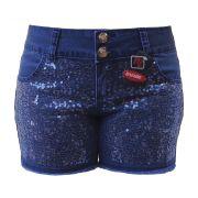 Short Jeans Azul Frente Bordada De Paête Tamanho 38