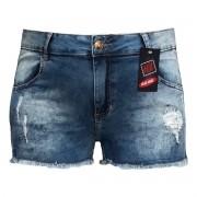 Short Jeans Feminino Curto Rasgado Listra Plus Size