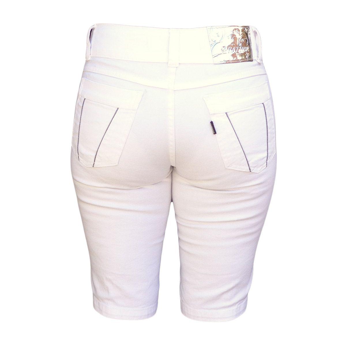 Bermuda Ciclista Feminina Branca Cintura Alta Tamanho 36