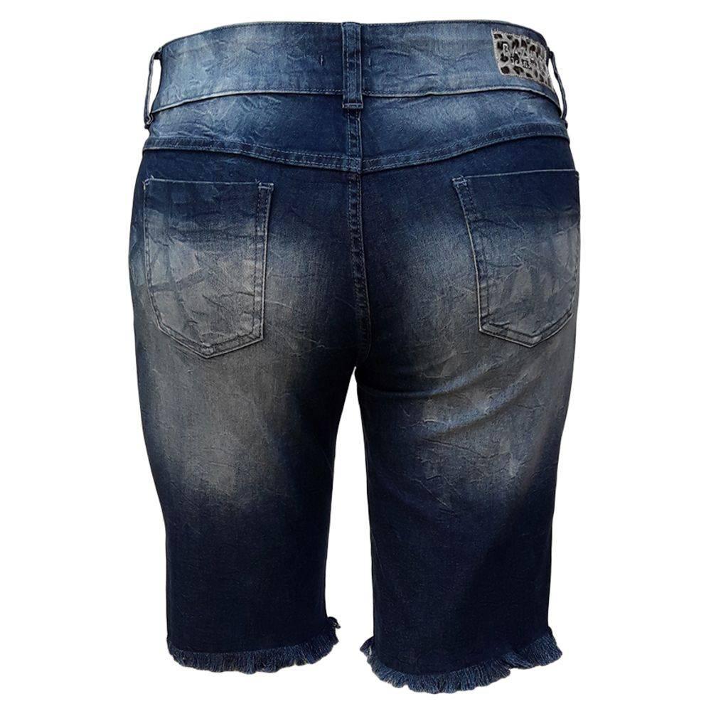 Bermuda Jeans Feminina Ciclista Barra Fil Plus Size