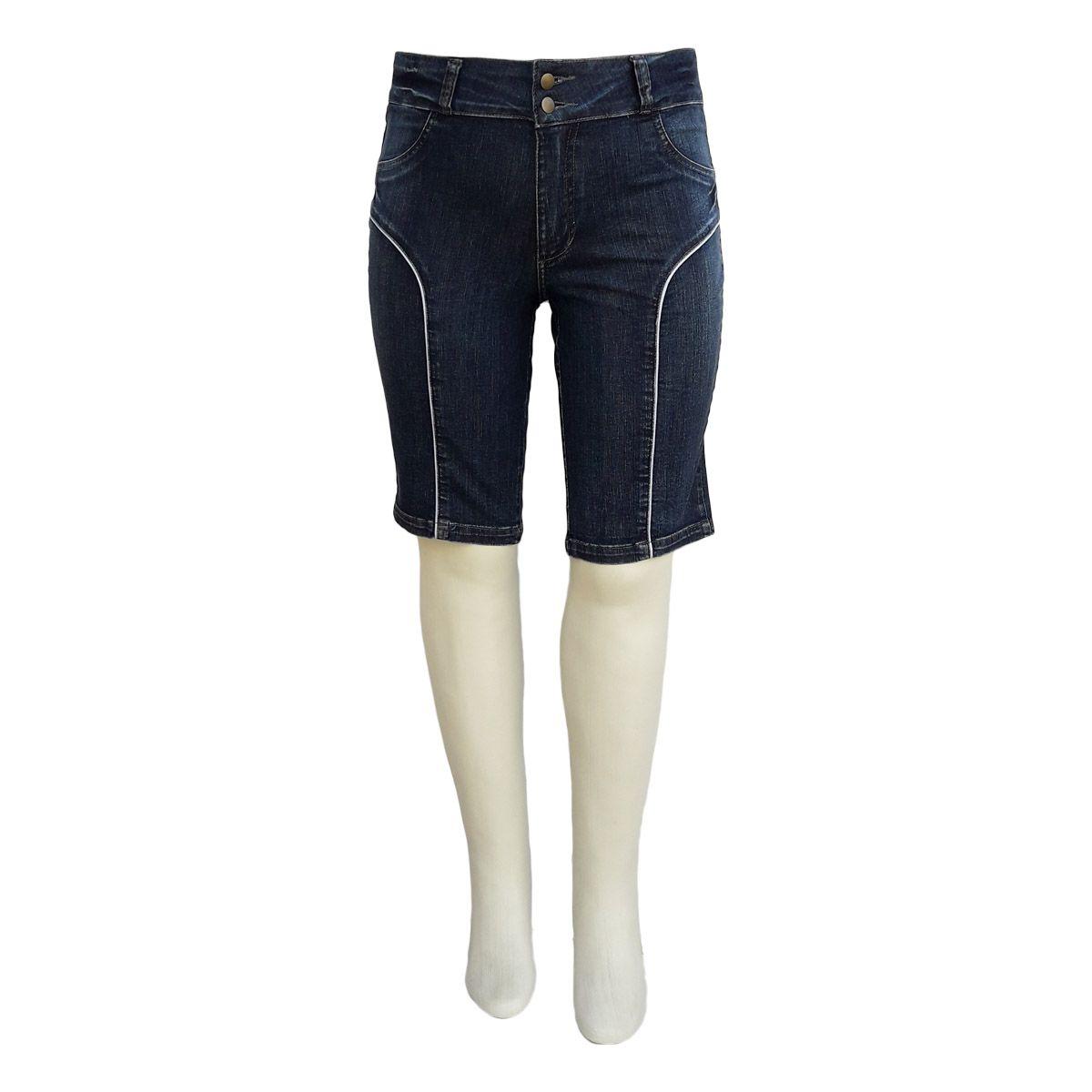 Bermuda Jeans Feminina Ciclista Cintura Alta Plus Size