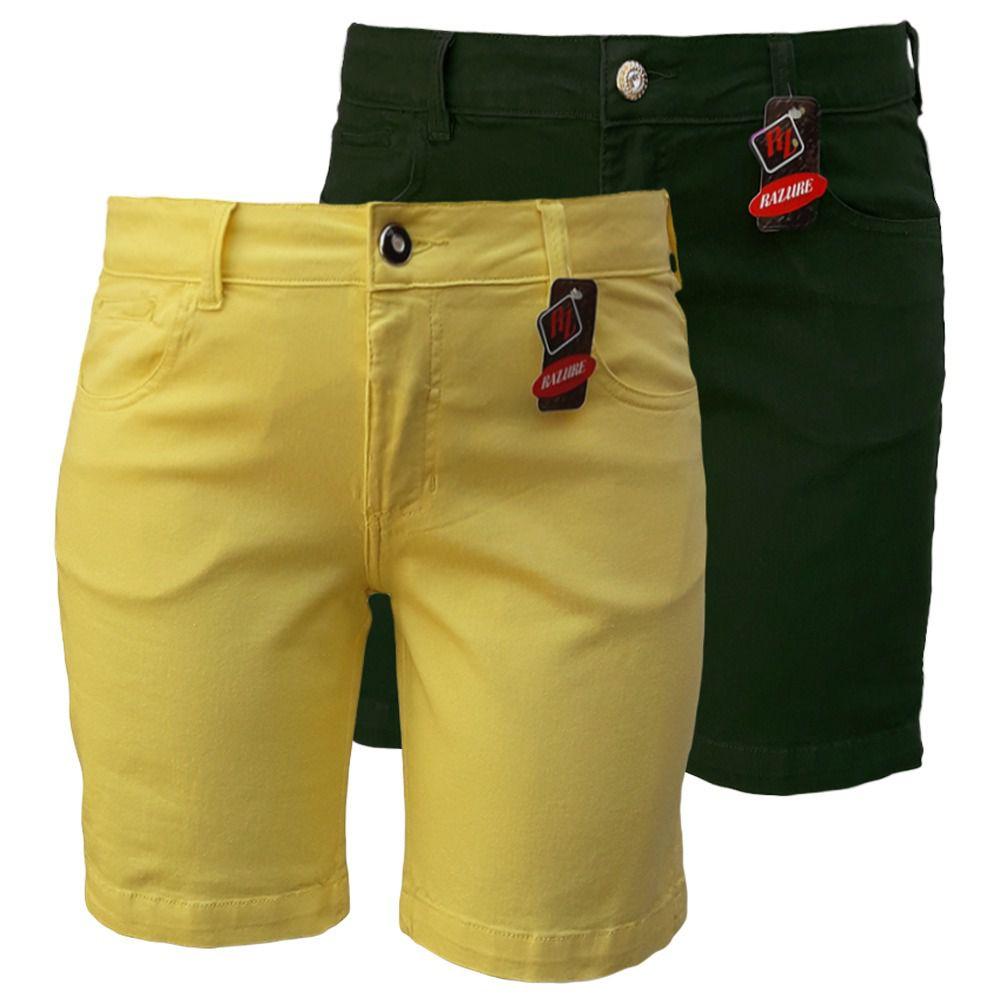 Bermuda Jeans Feminina Color Plus Size