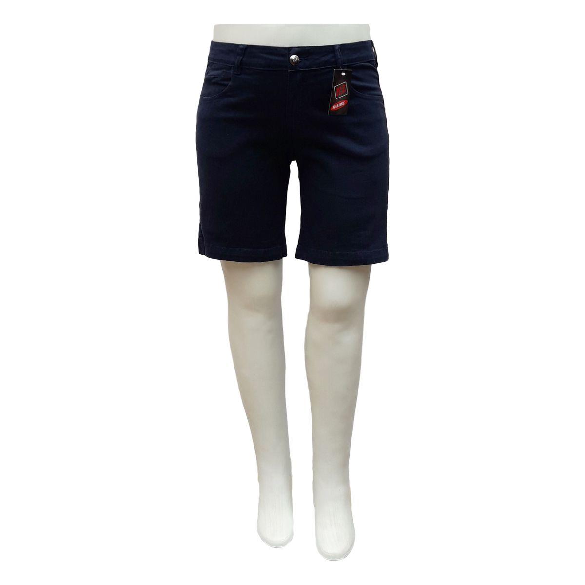 Bermuda Jeans Feminina Color Plus Size Azul