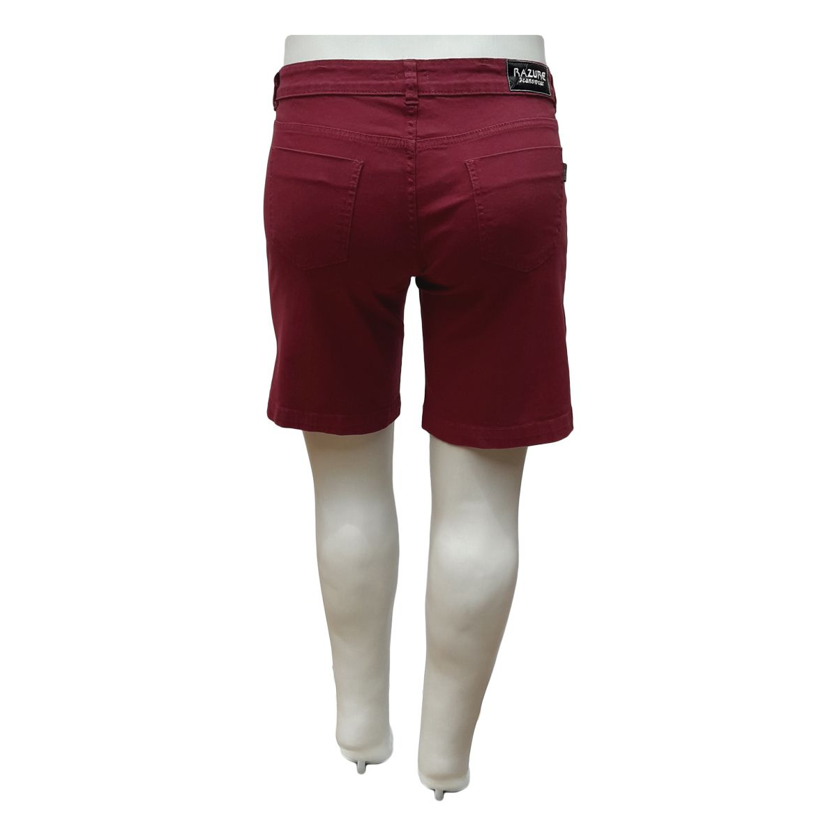 Bermuda Jeans Feminina Color Plus Size Bordô