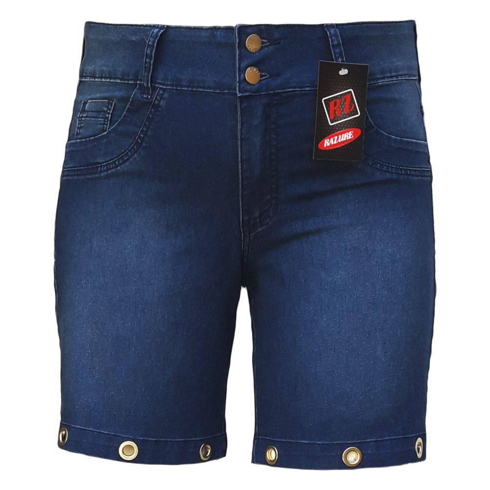 Bermuda Jeans Feminina Com Ilhós Plus Size