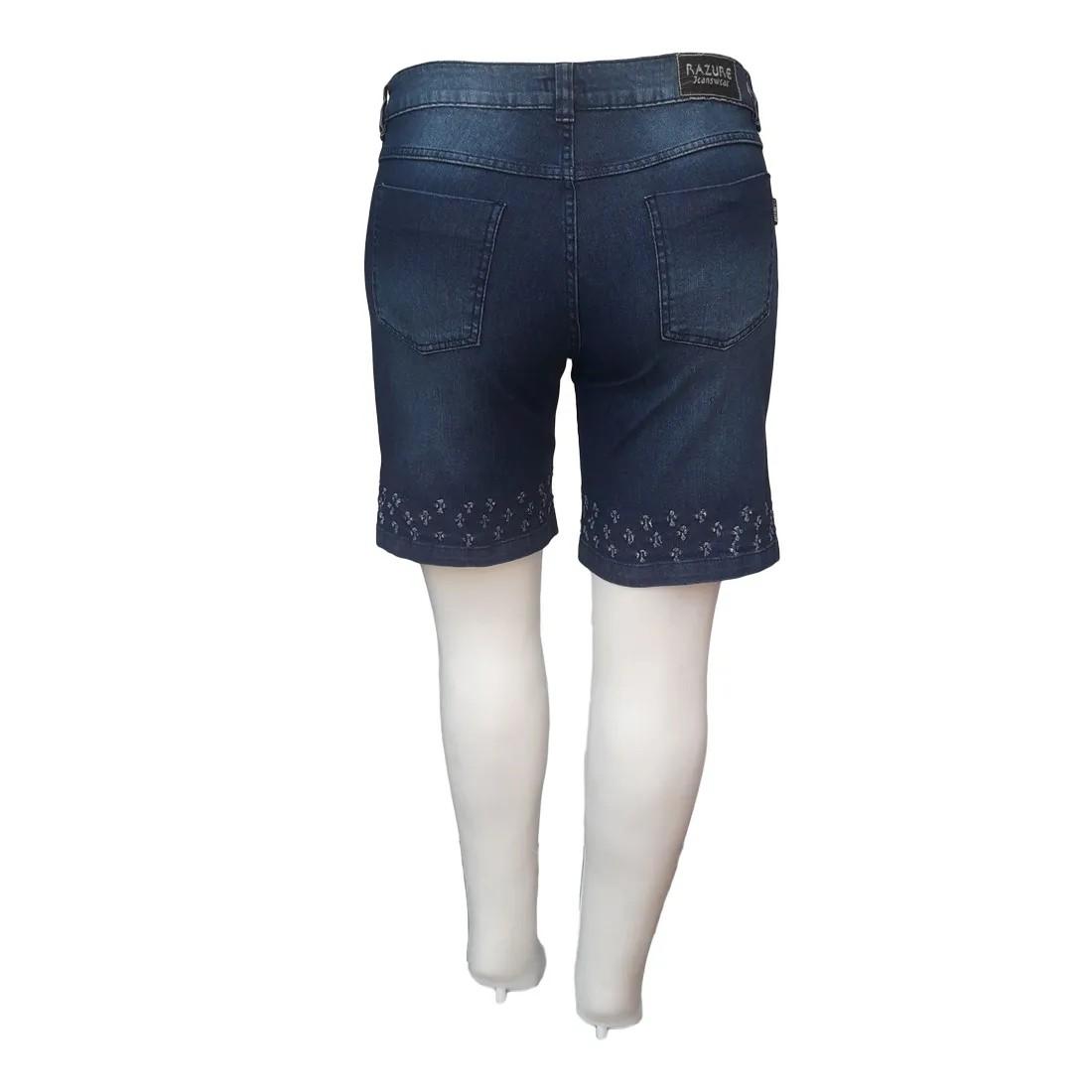 Bermuda Jeans Feminina Plus Size c/ Detalhes Vazados Barra