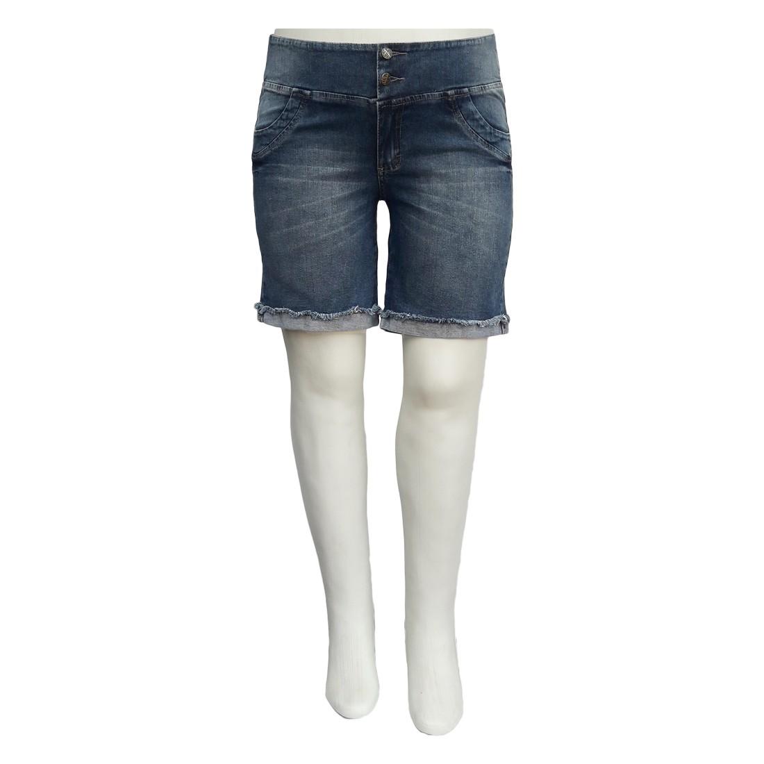 Bermuda Jeans Feminina Plus Size Elástico Cós Traseiro